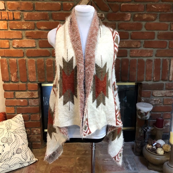 Italy Design High Low Aztec Native Vest Jacket M